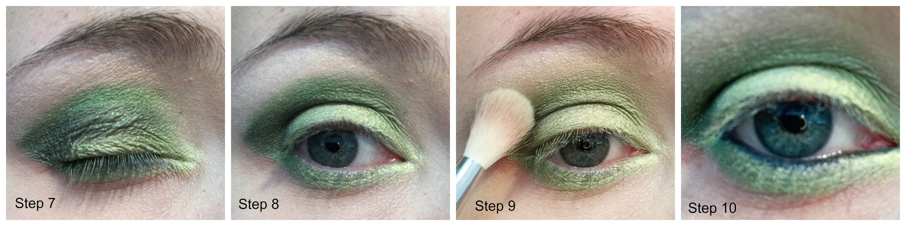 tutorials streaks and smudges step 7 use pencil brush to apply dark green shadow to crease at the outer corner and half way along the eye